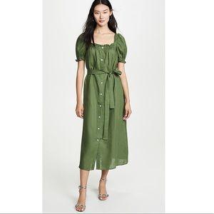 ISO daily sleeper brigitte linen midi dress green